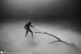 freedive tulum instructor playing around in the cloud 30 metres down in cenote angelita mexico. this cenote is famous for having the thickest cloud of all the cenotes