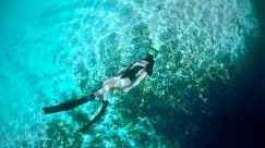 beautiful talented freediver tiffany enjoying the clear waters of casa cenote mexico
