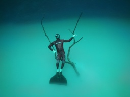 Jake perched on the cloud in cenote Angelita