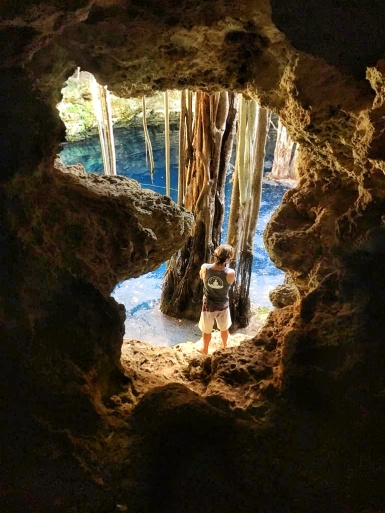 Looking through the hidden entrance to a spectacular Mexican cenote