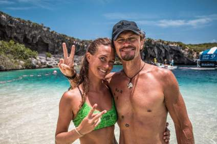 World champion freediver Alessia Zecchini after setting her 2nd world depth record in Vertical Blue 2018